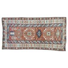 Antique Caucasian Kazak Mint Cond Wide Runner Pure Wool Rug Sh32024
