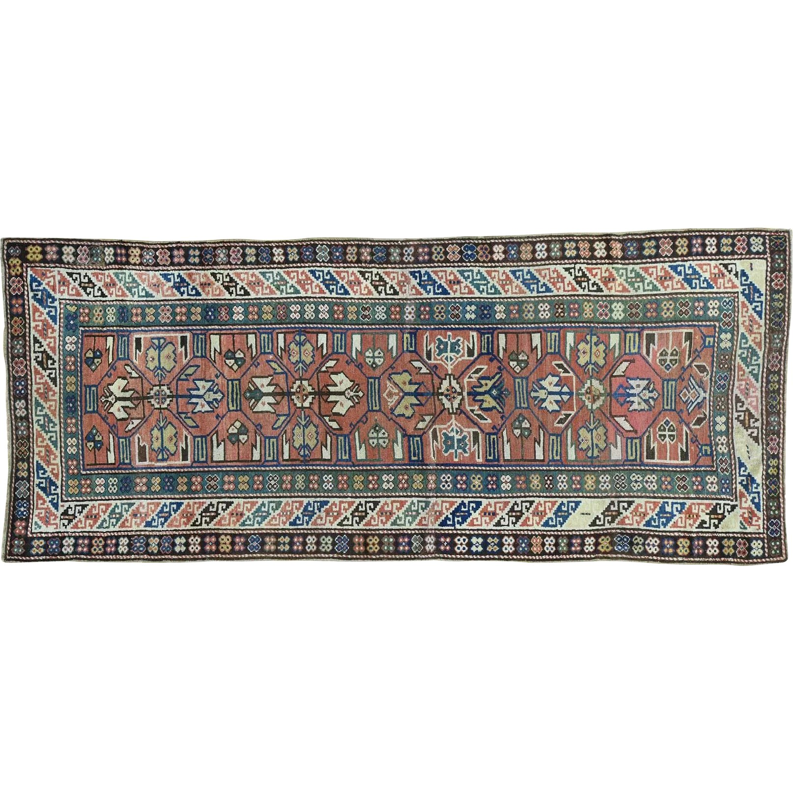 Diamond Basic Porcelain Blue Persian Style Wool Area Rug: Antique Kazak Exc Cond Wide Runner Pure Wool Oriental Rug