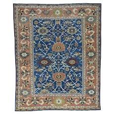 "8'1""x10'1"" Antique Persian Mahal Navy Blue Even Wear Handmade Rug"