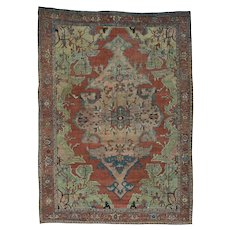 "9'2""x13' Antique Persian Serapi Even Wear Hand-Knotted Oriental Rug"