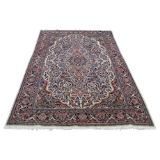4'4''x6'7'' Antique Persian Kashan Full Pile Soft Hand-Knotted Rug
