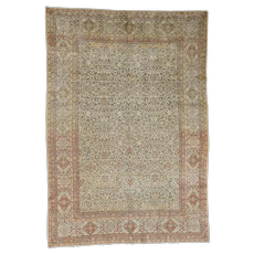 """8'6""""x12'1"""" Antique Persian Tabriz Hand Knotted Pure Wool Full Pile Rug"""