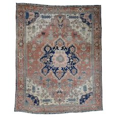 "10'1""x12'1"" Antique Persian Serapi Even Wear Oriental Rug"