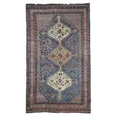 """5'2""""x8'9"""" Antique Persian Qashqai Good Cond Hand-Knotted Oriental Rug"""
