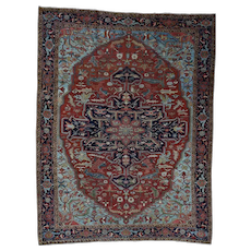 """9'9""""x13'1"""" Antique Persian Heriz Exc Cond Circa 1910 Hand-Knotted Oriental Rug"""