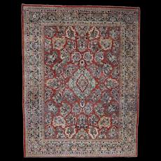 """9'x11'10"""" Antique Persian Sarouk Circa 1930 Full Pile Mint Cond Oriental Rug"""