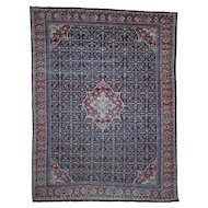 "11'x14'3"" Antique Persian Mahal Even Wear Navy Blue Hand-Knotted Oriental Rug"
