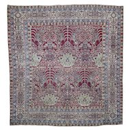 "8'1""x8'8"" Antique Square Persian Kermanshah Good Condition Even Wear Rug"