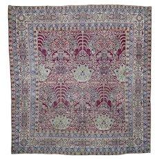 "8'1""x8'8"" Antique Square Persian Kermanshah Good Condition Even Wear Rug"