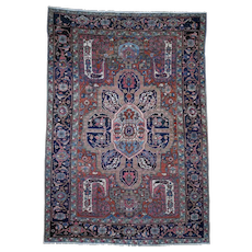 """7'9""""x11' Flower Design Antique Persian Heriz Good Condition Hand-Knotted Oriental Rug"""