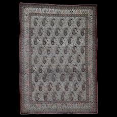 "6'3""x8'9"" Antique Persian Qum Good Condition Paisley Design Hand-Knotted Fine Oriental Rug"