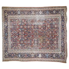 1910s Antique Persian Mahal Hand-Knotted Oriental Rug- 8′8″ × 10′3″