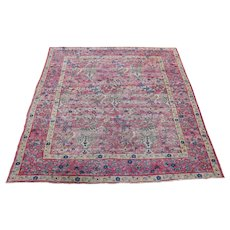 "4'2""x5'7"" Pink Antique Persian Kerman Birds Design Clean with Even Wear Oriental Rug"