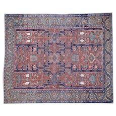 1910s Antique Persian Kerman Shah Good Restoration Handmade Oriental Rug- 8′6″ × 10′3″