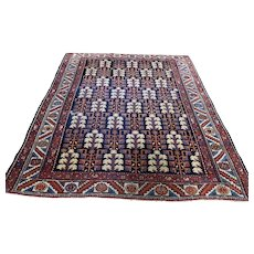 1900s Antique Persian Heriz Hand-Knotted Oriental Rug- 4′4″ × 5′9″
