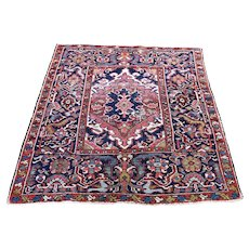 "3'6""x4'4"" Navy Antique Persian Heriz Some Wear Pure Wool Hand-Knotted Oriental Rug"