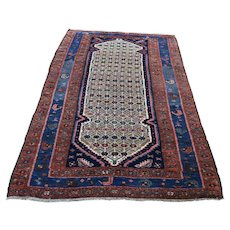 """3'6""""x7' Antique Persian Camel Hair Hamadan Pure Wool Hand-Knotted Oriental Rug"""