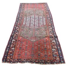 Orange Worn Antique Persian Malayer Pure Wool Hand-Knotted Oriental Rug - 3′ × 8′