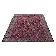"4""4""x6'7"" Red Antique Persian Sarouk Full Pile Mint Condition Pure Wool Hand-Knotted Oriental Rug"