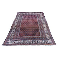 "4'5""x6'5"" Antique Persian Seraband Good Condition Even Wear Pure Wool Hand-Knotted Oriental Rug"