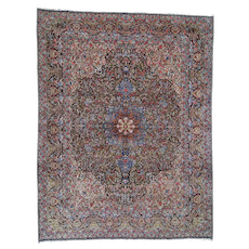 """9'6""""x12'3"""" Semi Antique Persian Kerman Full Pile Good Condition Clean Hand-Knotted Fine Oriental Rug"""