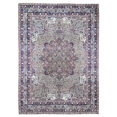 """11'1""""x13'8"""" Cranberry Antique Persian Kerman Shah Faces And Dragons Good Condition Hand-Knotted Oriental Rug"""