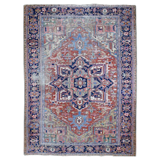 """7'9""""x10'5"""" Antique Persian Heriz Clean Worn But No Holes Hand-Knotted Oriental Rug"""
