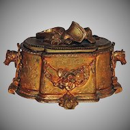 Gilt Bronze Equestrian Etched and Lined Casket
