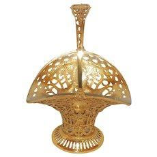 Pierced French Gilt Doré Bronze Floral Basket Crystal Glass Insert