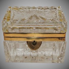 French Etched Cut Crystal Ormolu-Mounted Deco Casket Jewelry Box