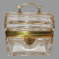 French Dome Handled Clear Crystal Glass Doré Bronze Casket Jewelry Box