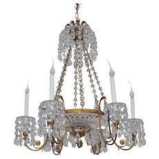 French Doré Bronze Cut Crystal Bowl Neoclassical Empire Chandelier Fixture