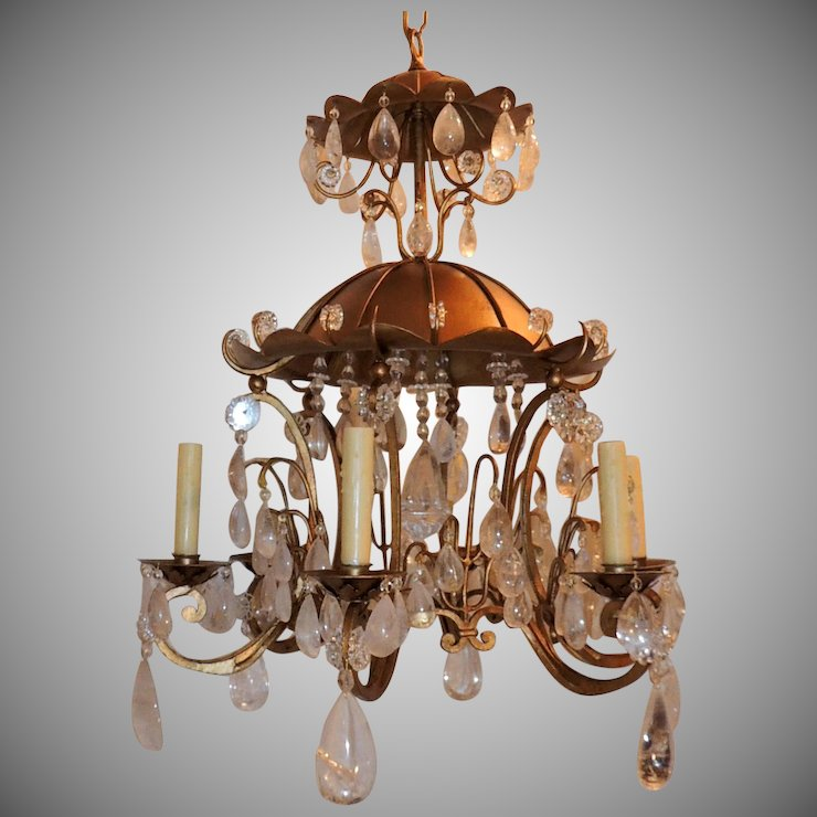 Gold Gilt Pagoda Rock Crystal Vintage Chandelier Fixture - Gold Gilt Pagoda Rock Crystal Vintage Chandelier Fixture : Antique