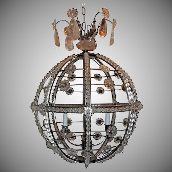 Modern Transitional Brushed Nickel Sputnik Rock Crystal Globe Chandelier Fixture