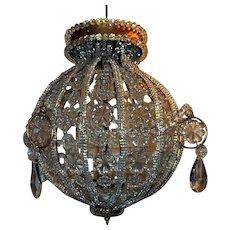 Pair of Italian Crystal Three-Light Globe Flush Mounts or Chandeliers