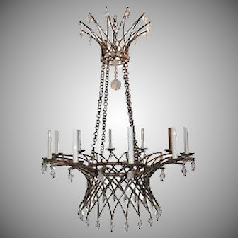 Wonderful Gilt Basket Chandelier Jansen Ten Lights Crystal Bead Fixture
