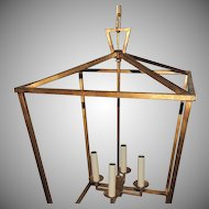 Set Three Large Modern Transitional Gilt Pendants Lantern Fixtures