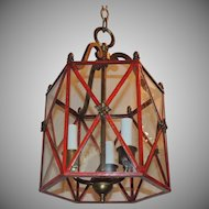 Petite Red Gilt Bronze Hexagon Panel Lantern Fixture 3 Lights Pendent
