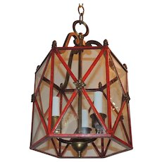 Petite Red Gilt Bronze Hexagon Panel Lantern Fixture 3 Lights Pendant