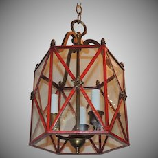Petite Red Gilt Bronze Hexagon Panel Lantern Fixture 3 Lights Pendant