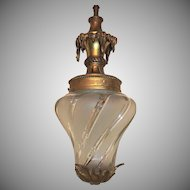 French Bronze Filigree Frosted Swirl Beveled Glass Lantern Fixture