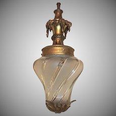 French Bronze Filigree Frosted Swirl Beveled Glass Lantern Fixture