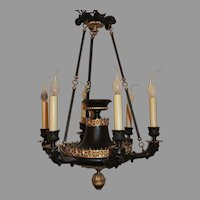 French Empire Patinated Gilt Bronze Figural Neoclassical Regency Urn Chandelier