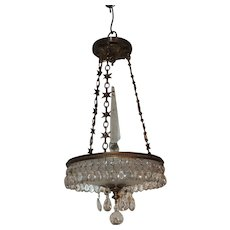 Petite Dore Bronze Baltic Star Frosted Crystal Three-Light Chandelier Fixture