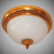 Wonderful Sherle Wagner Dore Bronze White Dome Glass Flush Mount Fixture  Set Four