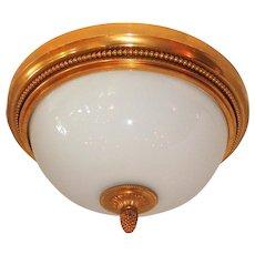 Wonderful Sherle Wagner Dore Bronze White Dome Glass Flush Mount Fixture  Set Four