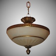 Pair Mid-Century French Bronze Alabaster Flush Mount Chandelier