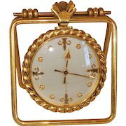 Emil Kofmehl Gilt Bronze Brass Fleur de Lis Table Travel Clock