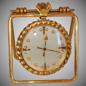 Emil Kofmehl Gilt Bronze Brass Fleur de Lis Table Travel Clock