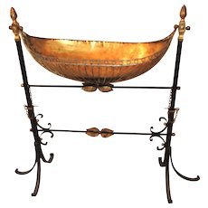 French Wrought Iron Copper Gilt Tole Bird Bath Planter Swing Stand